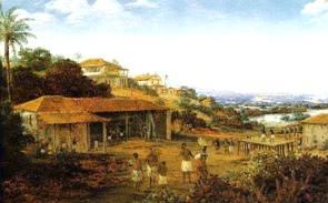 Imagem de um engenho de açúcar em Pernambuco, obra de Frans Post