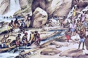 Pintura mostrando escravos trabalhando numa mina de ouro no Brasil colonial