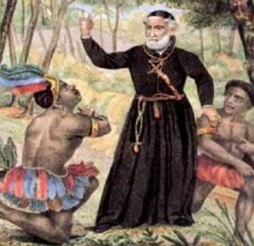 Padre Antônio Vieira catequizando índios no Brasil Colonial