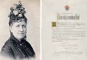 Foto da Princesa Isabel e imagem da Lei Áurea